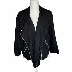 A.N.A A New Approach Black Linen Blend Moto Jacket